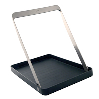 <h3>Take Away</h3> A tray with handle for Stelton. Take Away can be carried with one hand, leaving the other one free for opening doors or serving. With the handle down, Take Away can be used as a normal tray. The rubber surface prevents things on the tray from sliding around.